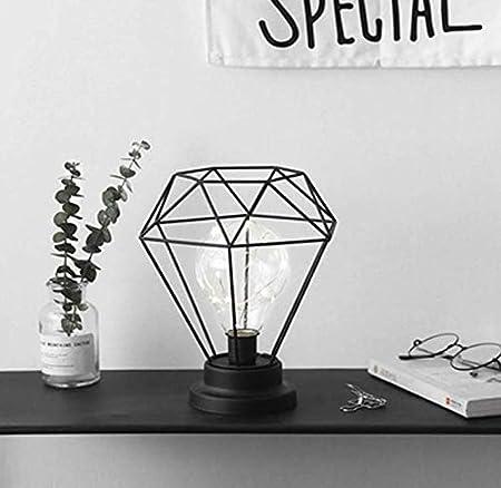JUANLIGHT Lámpara de Mesa de Hierro diamantado lámpara de Jaula de ...