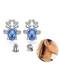 Swarovski Crystal Hypoallergenic Reindeer Deer Stud Earrings Birthday Valentine's Day Gifts for Women Girls