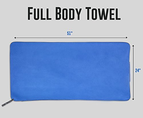 Microfiber Workout Full Size Gym Towel (51 x 24) Quick-Dry, Store Sweat + Wet Gear in Detachable Bag + Key Pocket | Fitness, Hiking, Camping, Swimming, Yoga, Exercise Sports Towel | TiiL (SilverBlue) 41EMqixLD9L