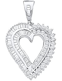 14kt White Gold Womens Round Diamond Heart Love Pendant 7/8 Cttw (I2-I3 clarity; J-K color)