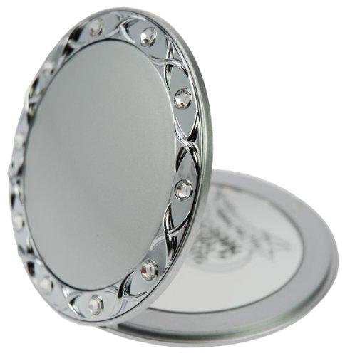 Swarovski Wall Mirror - Fantasia Compact Mirror Round Silver 10 x Magnification Swarovski Elements 8.5 cm