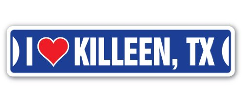 I Love Killeen, Texas Street Sign tx City State us Wall Road décor ()