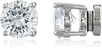 New & Improved! Silvertone with Clear Cz Round Magnetic Stud Earrings - 4mm to 12mm Available (7 Millimeters) (E-1524)