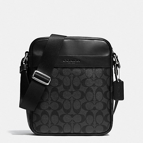 Coach Flight Bag Signature PVC Charcoal Black F71764CQBK (Flight Men Bag For Coach)