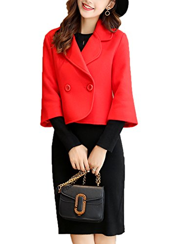Gihuo Women's Elegant Double-Breasted Pea Coat Wool Blend Short Jacket Outwear (Red, X-Small) - Short Peacoat