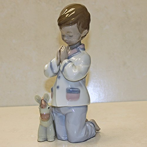 Praying Boy Porcelain - Lladro Figurine, 6582 Bless Us All, Boy praying