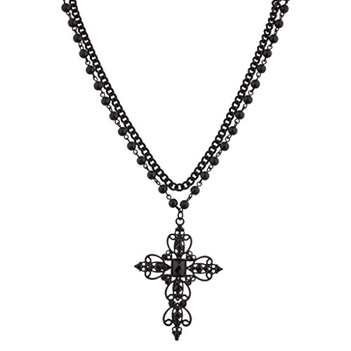 Lux Accessories Classic 80s Gothic Black Rosary Style Cross Pendant Necklace (Womens 80s)