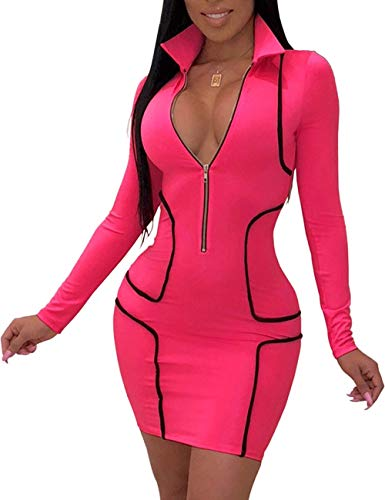 ASexya Women Sexy Pencil Dress Turtleneck Long Sleeve Solid Stripes Stretched Bodycon Business Sheath Suiting Slim Fit Rose