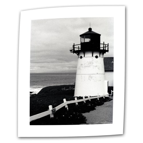 Art Wall Montara Lighthouse 32 by 48-Inch Flat/Rolled Canvas by Kathy Yates with 2-Inch Accent Border