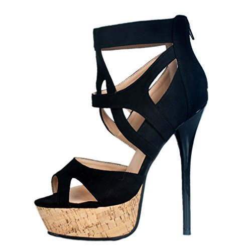 Party Black Open Sandales Chaussures Femmes Kolnoo Soirée Crosscriss toe Haut Talon qxSEPRwC