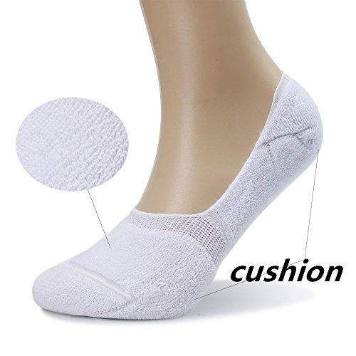Eleray 5-Pack Women's Thick Cushion Cotton Casual Low Cut Falt Non-Slip No Show Liner Socks (Black) by eleray (Image #3)