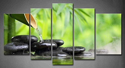 Merveilleux 5 Panel Wall Art Green Spa Still Life With Bamboo Fountain And Zen Stone In  Water