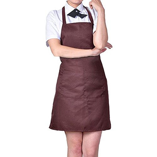 Womens Mens Solid Cooking Chef Kitchen Restaurant Bib Apron Dress with 2 Pockets (Color: Coffee) N@N