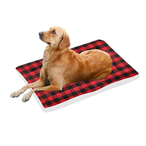 VunKo Black and Red Plaid Rectangle 48 Inch Pet Bed Home Mat for Dogs and Cats Indoor/Outdoor Machine Washable Kong Crate Mat