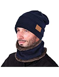 1c1e5f6d2f9 2-Pieces Winter Beanie Hat Scarf Set Warm Knit Hat Thick Knit Skull Cap for