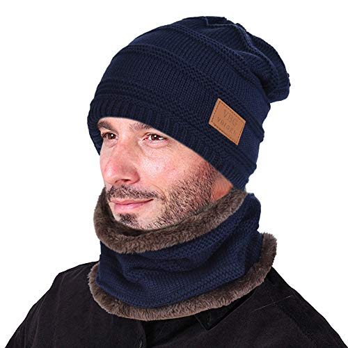 VBIGER Beanie Hat Scarf Set Knit Hat Warm Thick Winter Hat For Men (New Blue)
