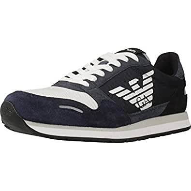 Emporio Armani Men's Lace Up Logo Fashion Sneaker, Blue+Deep Blu+Blk, 9 Regular UK (10 US),X4X215Xl200