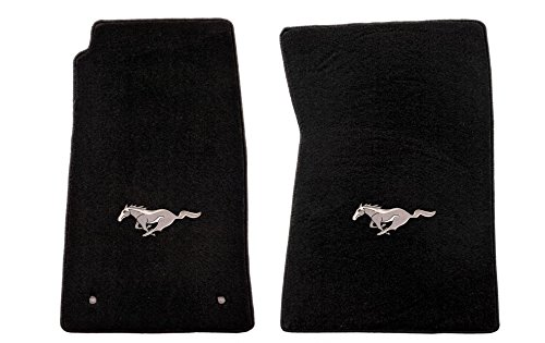 1965-73 Mustang Coupe & Fastback Black Classic Floor Mats - Silver Running Horse Logo free shipping