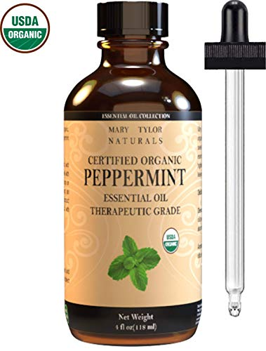Mary Tylor Naturals Organic Peppermint Essential Oil 4 oz, USDA Certified Mentha Piperita for Stress Relief, Relaxation, Aromatherapy, Diffuser and Repel Mice (Best Organic Peppermint Oil)