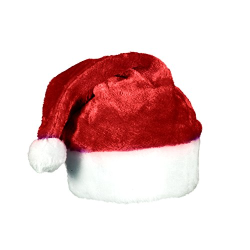 Ugly Sweater Christmas Party Kit - (2) Pack Plush Santa Hats + (2) Pack LED Christmas Necklace (Red Santa Hat + Necklace) by Windy City Novelties (Image #3)