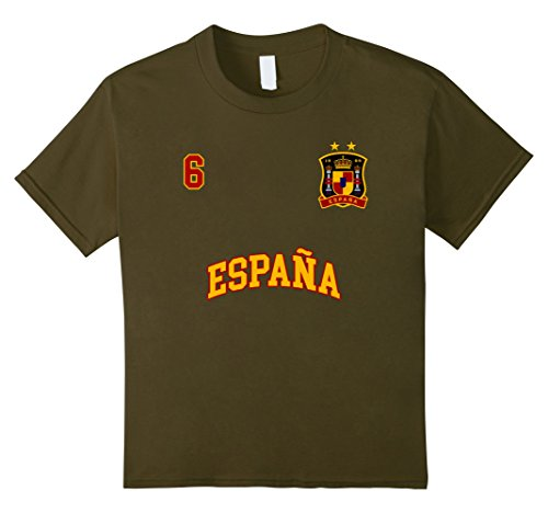 fan products of Kids Spain Shirt Number 2 Soccer Team Spanish Flag Futbol Espana 6 Olive