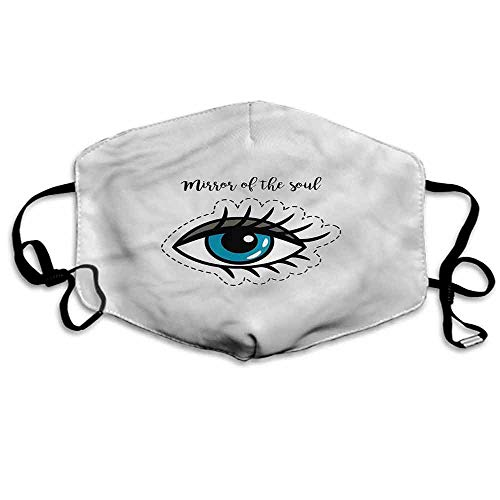 Eyelash Dust Mouth Mask Mirror of Soul Quote for Men and Women W4