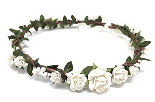 Daddasprincess Flower Girl Crown Wedding Boho Headpiece Headband Hair Wreath (White)