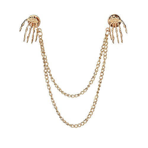 Chain Brooch - MUZHE Hand Bone Ghost Pin Collar Chain Suit Pin Buckle Shirt Brooch Pin for Women Man Party Gifts (Gold)