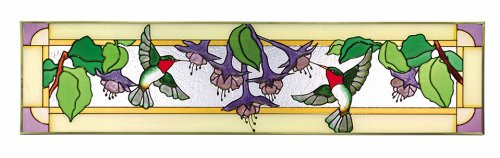 Silver Creek Hummingbirds Fuchsia Horizontal Art Glass Panel 9 x (Transom Window Panel)