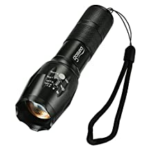 LED Flashlight Gosund T6 Tactical Flashlights of 5 Modes- Zoomable High Powered Water Resistant LED Torch Light with Bottom Click for Outdoor (1pcs)