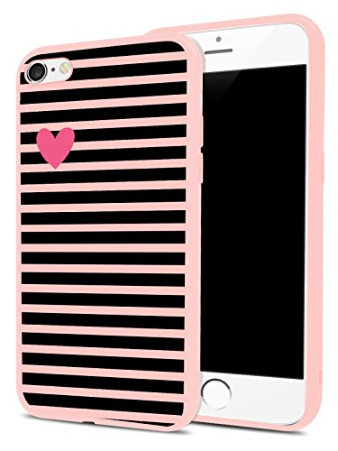 (Heart and Striped Pattern Case for iPhone 6 Plus/iPhone 6s Plus, MAYCARI Full Protection Slim Pink Rubber Drop Protective Soft TPU Shell for Girls Women)