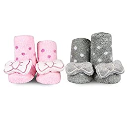 Waddle and Friends Baby Girls Bows Rattle Socks Light Pink and Grey 0-12 Months