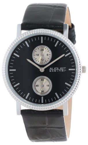 August Steiner Men's AS8048BK GMT Leather Strap Quartz Watch