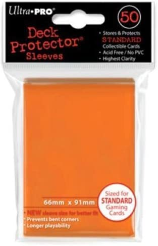 50 Ultra Pro Trading Card Sleeves Standard Orange Deck Protectors.