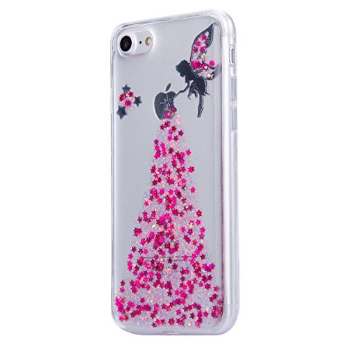 iPhone 7 Case Transparent Glitzer Silikon Case,iPhone 7 Glitzer Transparent Hülle,iPhone 7 Clear TPU Case Hülle Cristall Silikon Gel Schutzhülle Etui für iPhone 7 4.7 Zoll,EMAXELERS iPhone 7 (4.7 Zoll Angel Girl 1