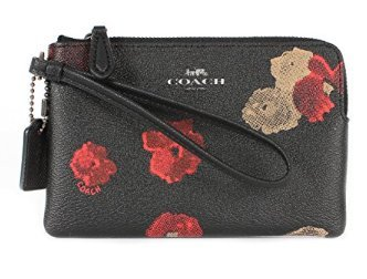 Coach Halftone Floral Corner Zip Wristlet F55824 Black - Handbags Coach Multicolor