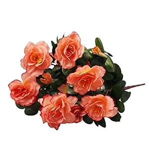 MARJON FlowersHot Sale!!!! Artificial Bouquet Simulation of Azalea Safflower Home Wedding Garden Party Festival Decoration (Orange) 2