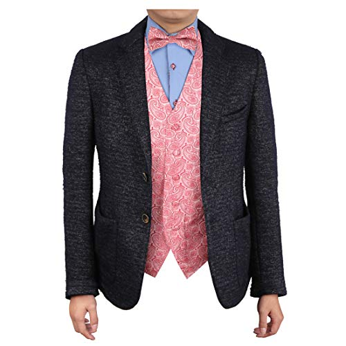 (Epoint EGE1B04C-S Pink Red Luxury Design Patterns Microfiber Vest and Pre-tied Bow Tie Elegant Gentlemen)