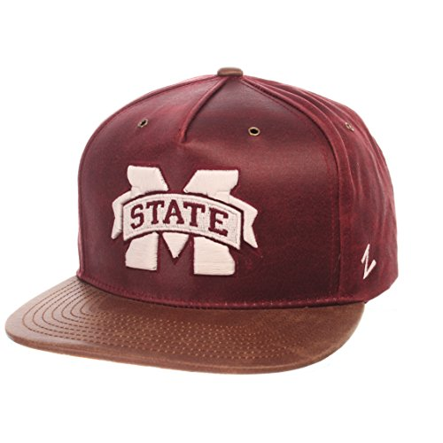 ZHATS NCAA Mississippi State Bulldogs Adult Men Tribute Heritage Collection Hat, Adjustable, Team Color/Cracked Leather
