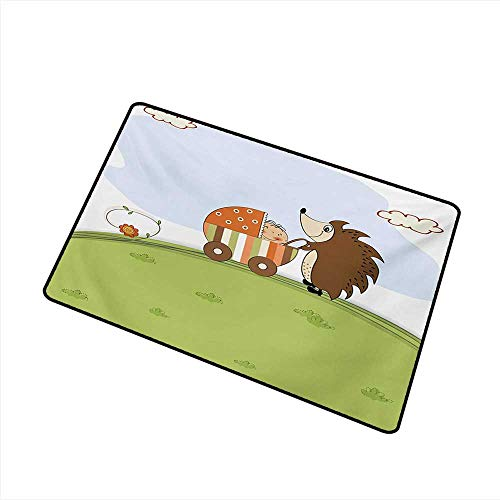 Axbkl Outdoor Door mat Funny Baby Shower Theme A Hedgehog Pushing a Stroller with Baby Illustration W20 xL31 Breathability