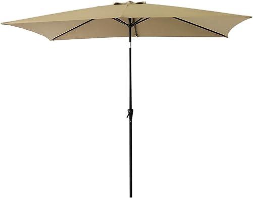 FLAME SHADE 6.5 x 10 ft Rectangular Outdoor Patio Umbrella with Tilt – Beige