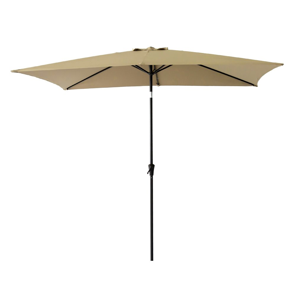 FLAME&SHADE 6ft 6in x 10 ft Rectangular Outdoor Market Patio Umbrella Parasol with Crank Lift, Push Button Tilt, Beige