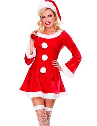 Papaya Wear Mrs Santa Baby Christmas Costume Velvet Long Sleeves Dress (Mrs Christmas Outfit)