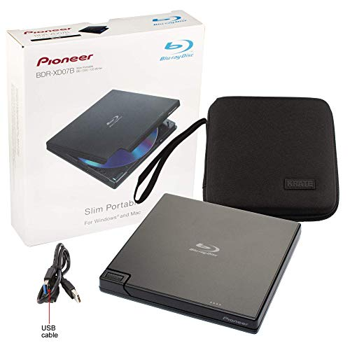 Pioneer BDR-XD07B Blu-Ray Player Burner - 6X Slim Portable External BDXL, BD, DVD & CD Drive for Windows & Mac with 3.0 USB - Write & Read on Laptop or Desktop, Includes Carry Case (Black)