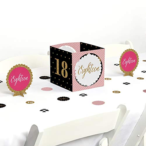 Big Dot of Happiness Chic 18th Birthday - Pink, Black and Gold - Birthday Party Centerpiece & Table Decoration Kit