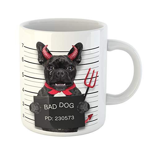 Semtomn Funny Coffee Mug Halloween Devil Pug Dog Crying in Mugshot Caught 11 Oz Ceramic Coffee Mugs Tea Cup Best Gift Or Souvenir