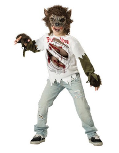 Wolf Kids Costumes - InCharacter Costumes, LLC Boys Werewolf Mask and Shirt Set, Multi Color, 6