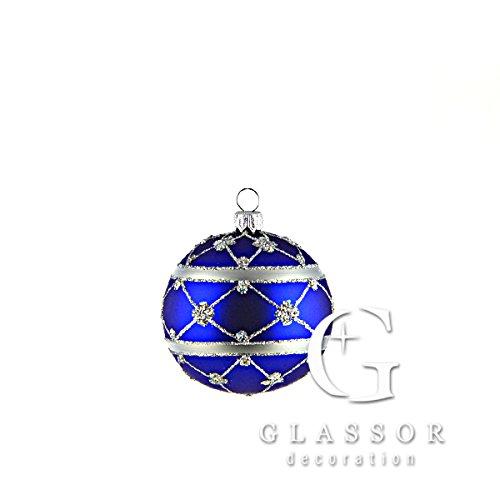 Blue adorned ball Christmas ornament