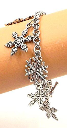 Snowflakes Winter Wonderland Bracelet Hanukkah Xmas Silver-tone Holiday Collection All Sizes