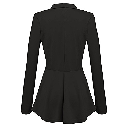 Button Lunghe Blazer Nero Da Con Casual Alla Arricciature Peplum Coat Outwear Jacket Giacca A Maniche Moda Donna wpqa0P